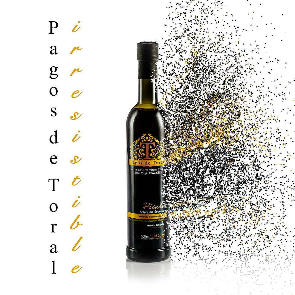 Foto de producto explosión de botella de aceite de oliva